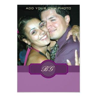 "Purple Lilac Wedding Invitations Monograms Photo 5"" X 7"" Invitation Card"