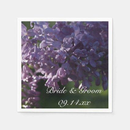 Purple Lilac Wedding Paper Napkins