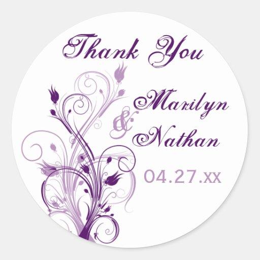 "Purple Lilac White Floral 1.5"" Wedding Sticker"