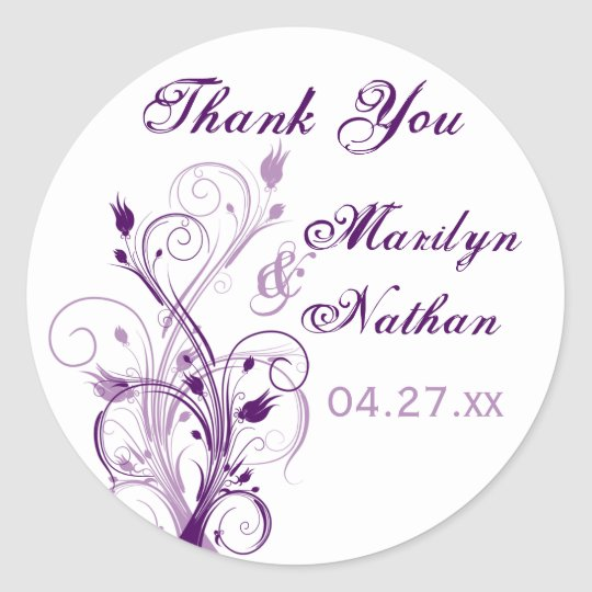 "Purple Lilac White Floral 1.5"" Wedding Sticker"