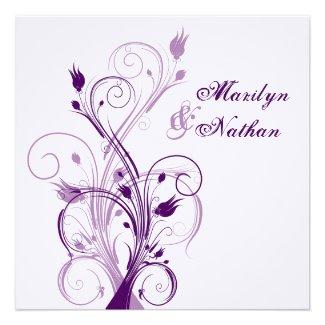 Purple Lilac White Floral Sq. Wedding Invitation 2