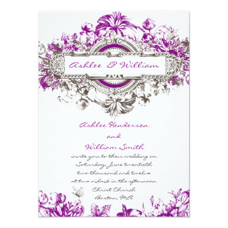 Purple Lilac White Vintage Floral Wedding Invite
