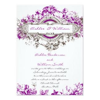 Purple Lilac White Vintage Floral Wedding Invite