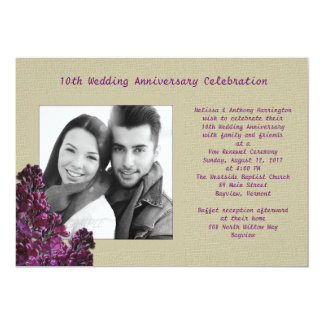 Purple Lilacs and Burlap Photo Vow Renewal Invite