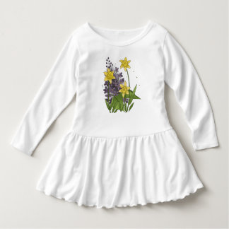 Purple Lilacs and Yellow Daffodils Flower Drawing Dress