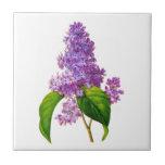 Purple Lilacs by Pierre-Joseph Redoute Tiles