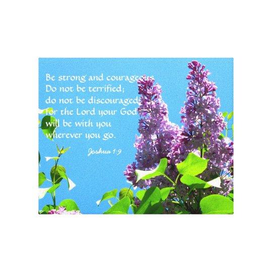 Purple Lilacs Christian Scripture Canvas Print