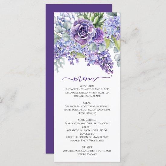 Purple Lilacs & Succulents, Eucalyptus DIY Wedding Menu