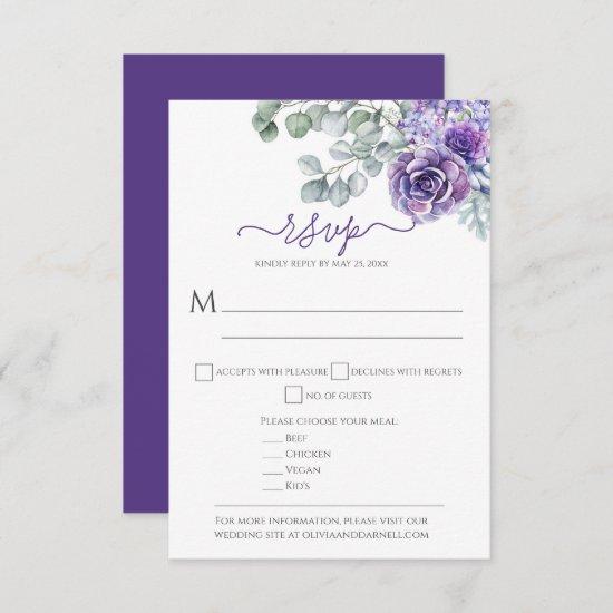 Purple Lilacs & Succulents, Eucalyptus DIY Wedding RSVP Card