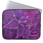 Purple Lili & Sparkles Abstract Flower Laptop Sleeve