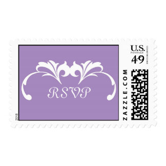 Purple Liliac Scroll RSVP Wedding Postage Stamp