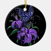 purple, lily, lilies, flower, butterfly, blue, fantasy, art, myka, jelina, mika, butterflies and moths, Ornament with custom graphic design