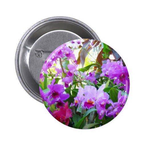 Purple Lilies Flower Pin Button