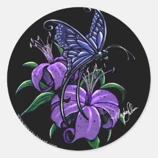 Purple Lillies Blue Butterfly Fantasy Art Stickers