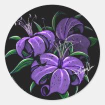 purple, lilly, lillies, flowers, fantasy, art, myka, jelina, Sticker with custom graphic design