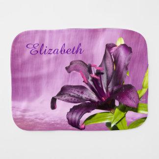 Purple Lily with Waterfall Burp Cloth
