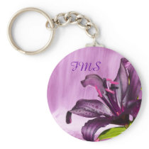 Purple Lily with Waterfall Keychain