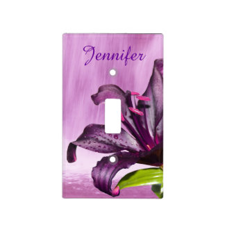 Purple Lily with Waterfall Light Switch Covers