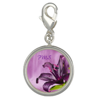 Purple Lily with Waterfall Photo Charm