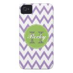 Purple & Lime Chevron Monogrammed iPhone 4/4s iPhone 4 Case