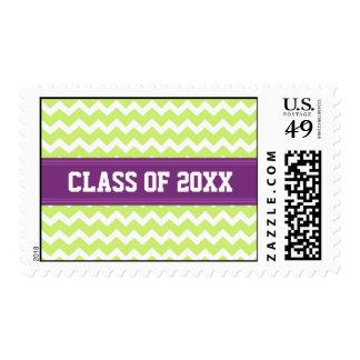 Purple Lime Chevrons Graduation Custom Year Stamps