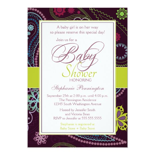 Purple lime floral paisley baby shower invitation