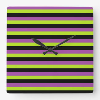 Purple Lime Green and Black Stripes Square Wall Clock