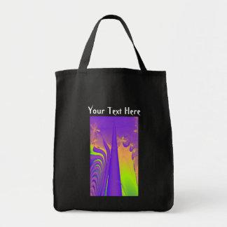 Purple, Lime Green and Orange Fractal Design. Tote Bag