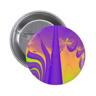 Purple, Lime Green and Orange Fractal Design. Pinback Button