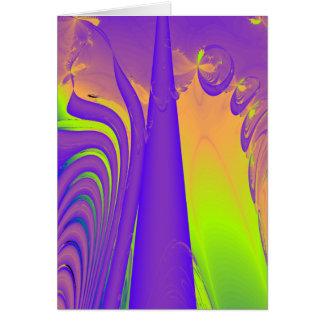 Purple, Lime Green and Orange Fractal Design. Greeting Cards