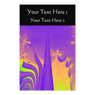 Purple, Lime Green and Orange Fractal Design. Flyer Design