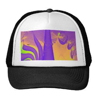 Purple, Lime Green and Orange Fractal Design. Mesh Hats