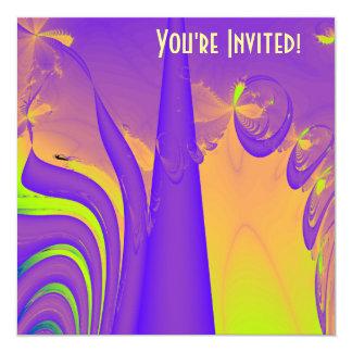 Purple, Lime Green and Orange Fractal Design. Custom Invitations