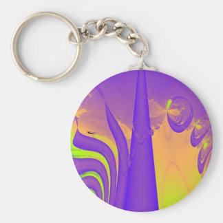 Purple, Lime Green and Orange Fractal Design. Key Chain