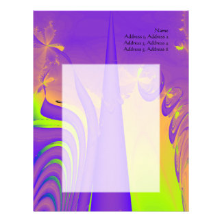 Purple, Lime Green and Orange Fractal Design. Personalized Letterhead