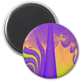 Purple, Lime Green and Orange Fractal Design. Refrigerator Magnet