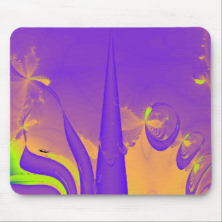 Purple, Lime Green and Orange Fractal Design. Mouse Pad