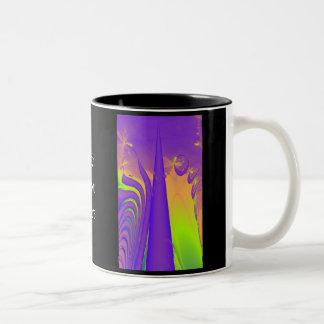 Purple, Lime Green and Orange Fractal Design. Coffee Mugs