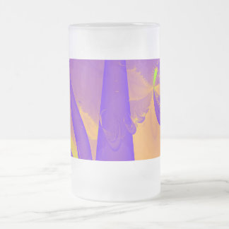 Purple, Lime Green and Orange Fractal Design. Mugs