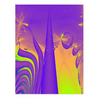 Purple, Lime Green and Orange Fractal Design. Postcard