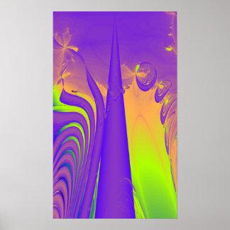 Purple, Lime Green and Orange Fractal Design. Print