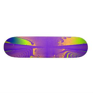 Purple, Lime Green and Orange Fractal Design. Skateboard Deck