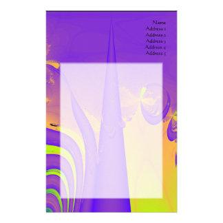Purple, Lime Green and Orange Fractal Design. Stationery