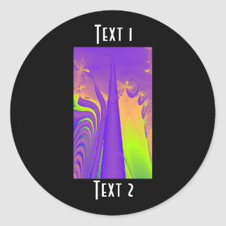 Purple, Lime Green and Orange Fractal Design. Stickers