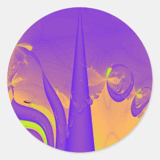 Purple, Lime Green and Orange Fractal Design. Round Sticker