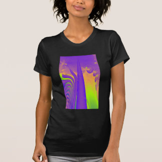 Purple, Lime Green and Orange Fractal Design. T Shirt