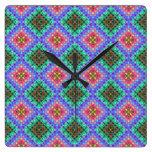 Purple & Lime Green Checkered Fractal Pattern Square Wallclock