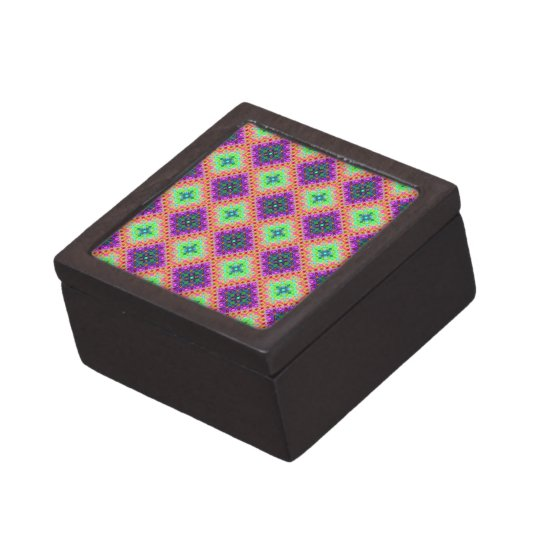 Purple & Lime Green Checkered Fractal Pattern Gift Box