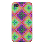 Purple & Lime Green Checkered Fractal Pattern iPhone 4 Cover