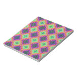 Purple & Lime Green Checkered Fractal Pattern Memo Notepad